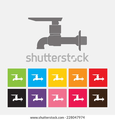 Faucet icon in flat design style. Vector illustration eps 10.
