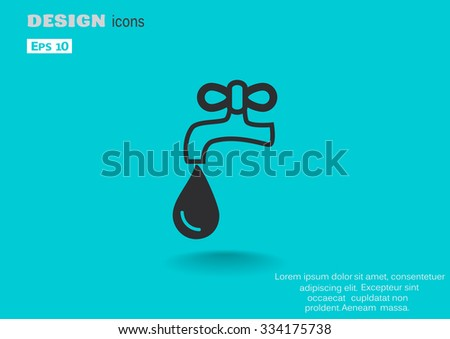 faucet with a drop, web icon. vector design