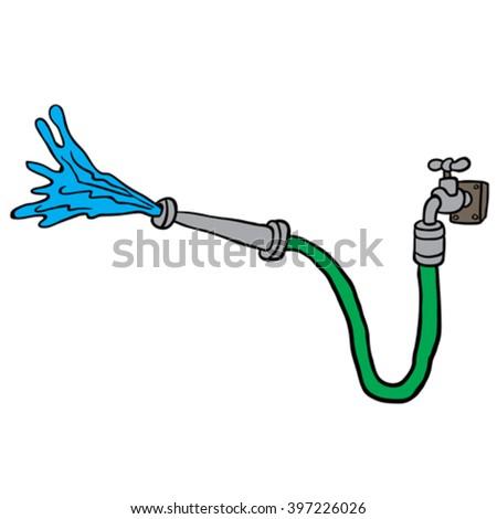 Faucet With Garden Hose Cartoon