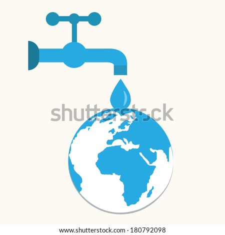 faucets and drops,save world,illustrations - stock vector
