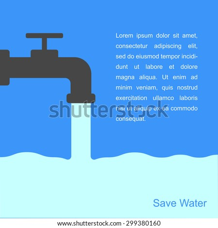 Faucets and water with space for text - stock vector