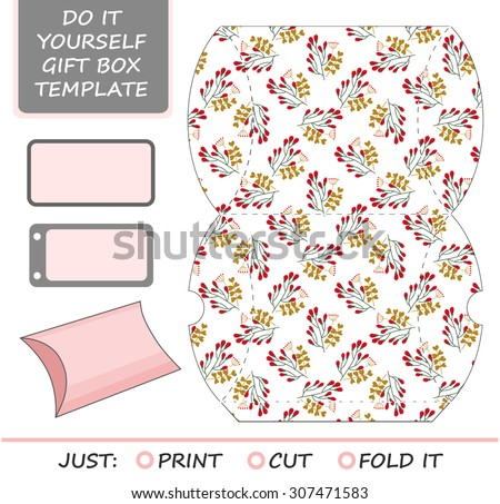 Favor gift box die cut box stock vector 307471583 shutterstock favor gift box die cut box template with winter floral pattern great for solutioingenieria Images