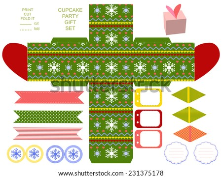 Favor, gift, product box die cut.  Christmas festive pattern. Empty label and party decoration items. Designer template.  - stock vector