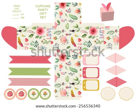 Favor, gift, product box die cut.  Watercolor floral pattern. Empty label. Designer template.