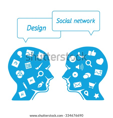 Favorite of software workers in the form icons - head it specialist in profile - the digital tools employees - designer vs. marketer social media - stock vector