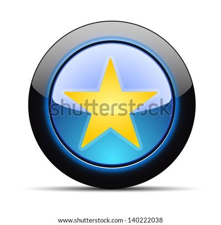 Favorite star button - stock vector
