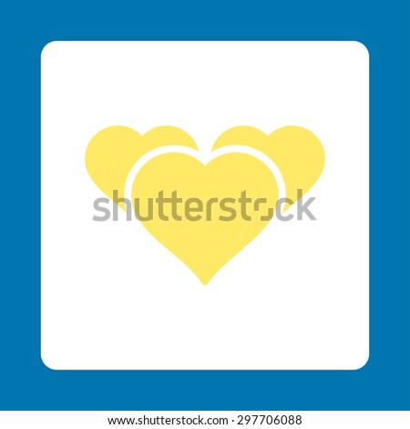 Favourites icon from Award Buttons OverColor Set. Icon style is yellow and white colors, flat rounded square button, blue background. - stock vector