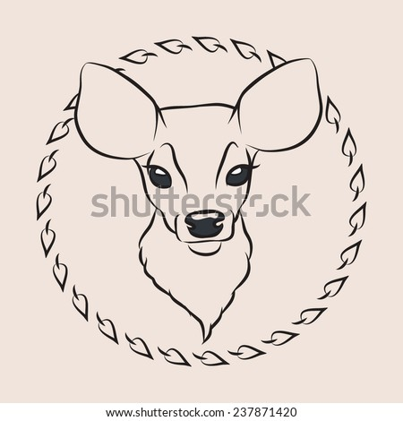 Fawn. Line vector illustration.