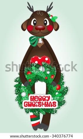 Fawn with Christmas wreath and a bell. - stock vector