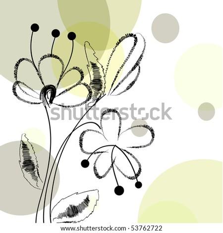Fawn with handwritten flowers. Vector. - stock vector