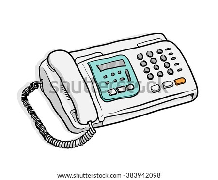 Fax Machine, a hand drawn vector illustration of a fax machine. - stock vector