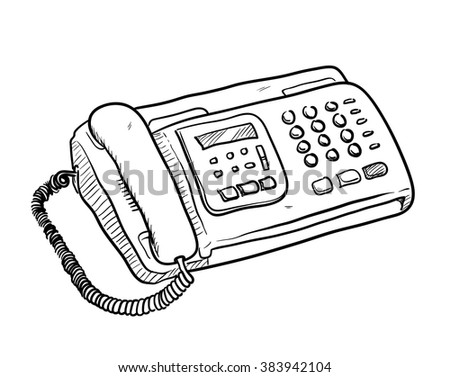 Fax Machine Doodle, a hand drawn vector doodle illustration of a fax machine. - stock vector