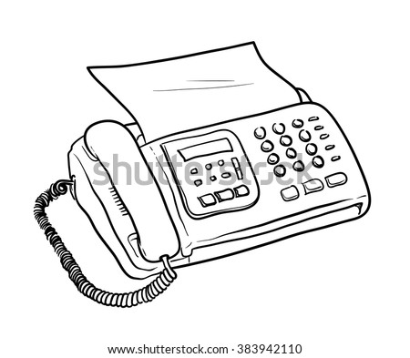 Fax Machine Vector, a hand drawn vector illustration of a fax machine with a sheet of paper. - stock vector