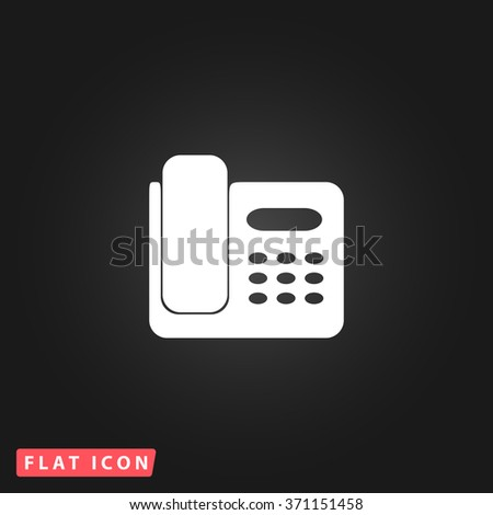 Fax machine. White flat simple vector icon on black background. Icon JPEG JPG. Icon Picture Image. Icon Graphic Art. Icon EPS AI. Icon Drawing Object. Icon Path UI - stock vector
