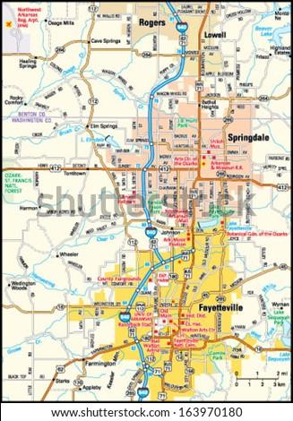 Fayetteville Arkansas Area Map Stock Vector 163970180 Shutterstock