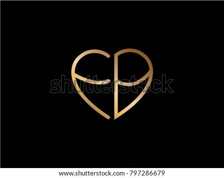 Fb Initial Logo Letter Heart Shape Stock Vector 2018 797286679