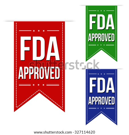FDA approved banner design set over a white background, vector illustration - stock vector
