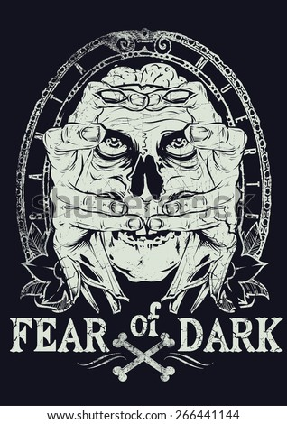 Fear of dark - stock vector