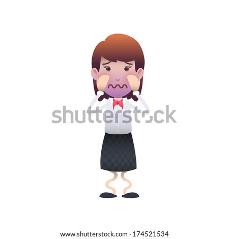 Fear woman isolated over white background. Vector design.