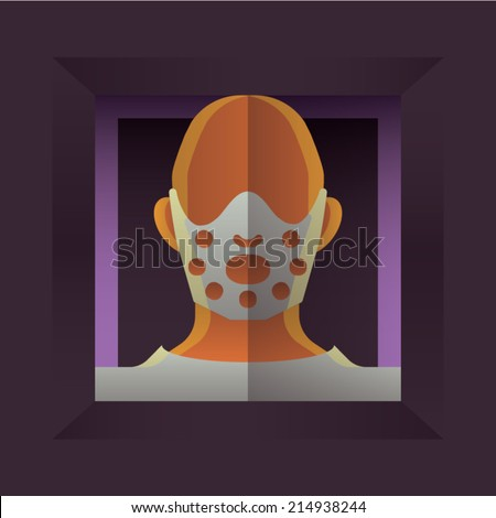 Fearful Halloween Character: Man with Hockey Mask - stock vector