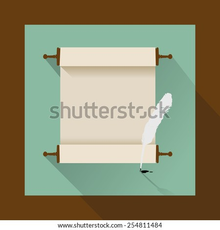 feather and ancient scroll on white - stock vector