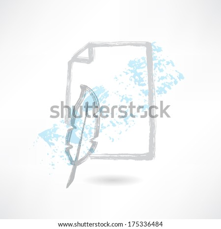 feather and paper grunge icon - stock vector