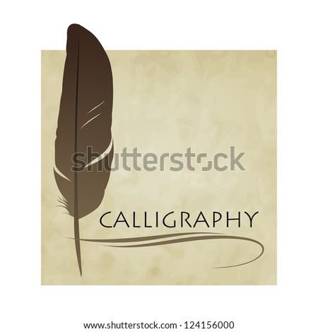 Feather calligraphic pen vector background - stock vector