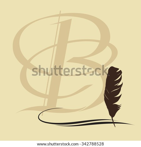 Feather calligraphic pen vector background with letter B - stock vector