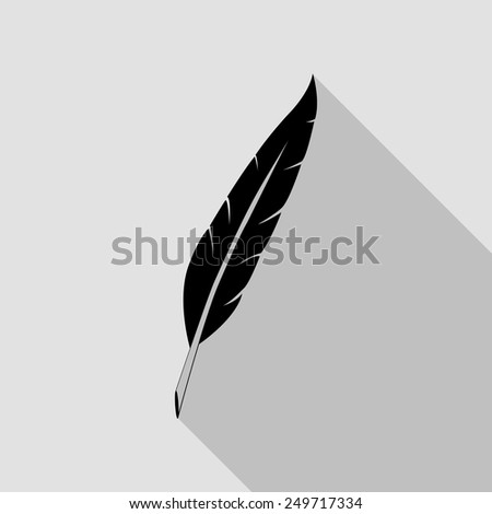 feather icon - black illustration with long shadow - stock vector