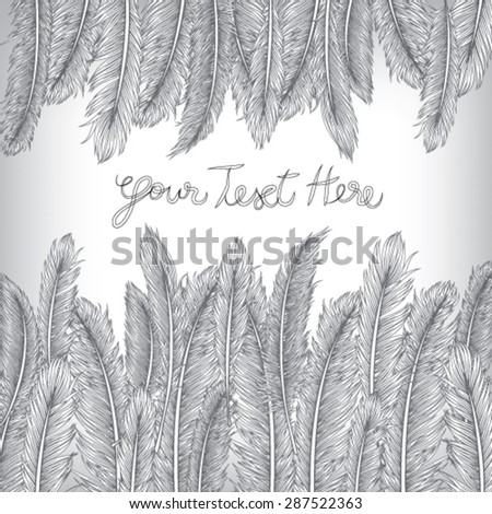Feather Invitation Card, Hand Drawn Vector, EPS10 Background