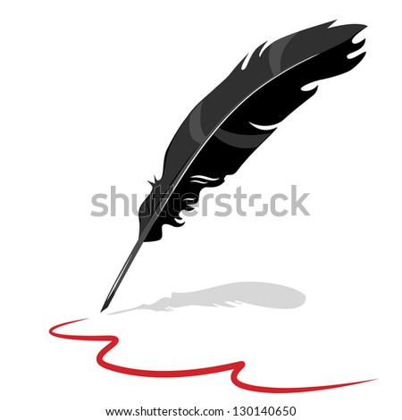Feather pen ink calligraphic - stock vector