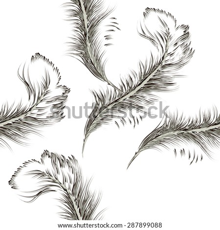 feather pen. seamless background. Vector - stock vector