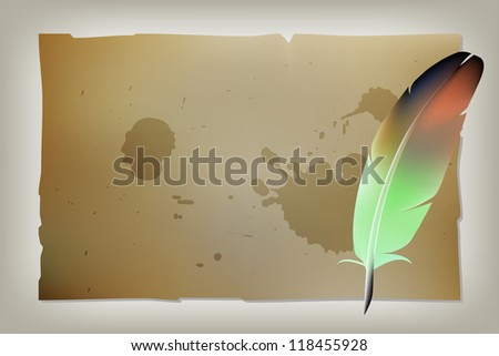 Feather pen vector drawing, quill, calligraphy tool with ink splatter. - stock vector