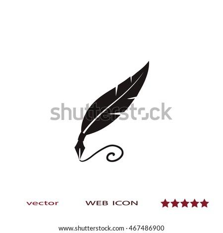 feather pen vector icon stock vector 460011484 - shutterstock
