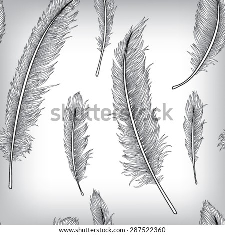 Feather Seamless Pattern Background, Hand Drawn, Vector EPS10  - stock vector