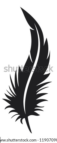 feather silhouette - stock vector