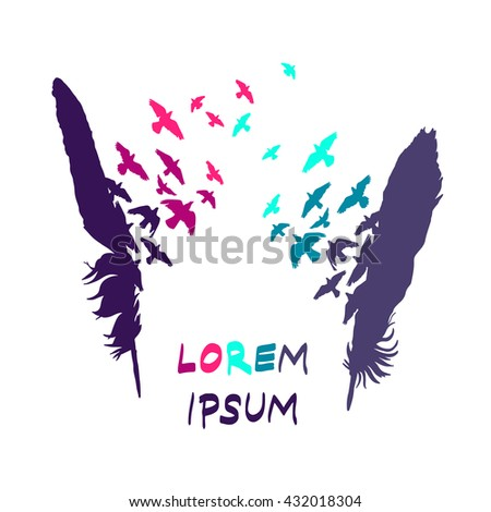 Feather silhouette with birds logo / label / icon - stock vector