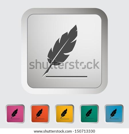 Feather. Single icon. Vector illustration. - stock vector