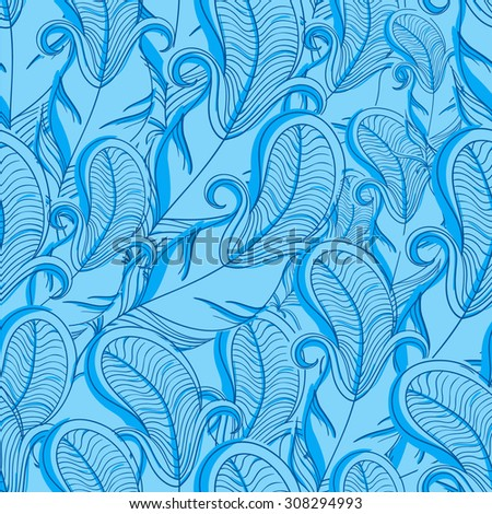 Feather texture pattern. Vector abstract hand-drawn pattern.