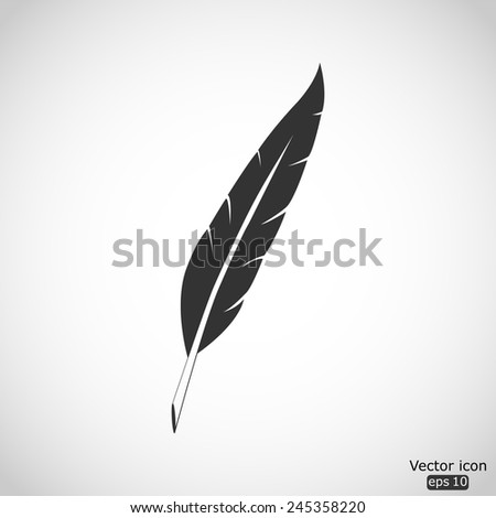 feather vector icon - stock vector