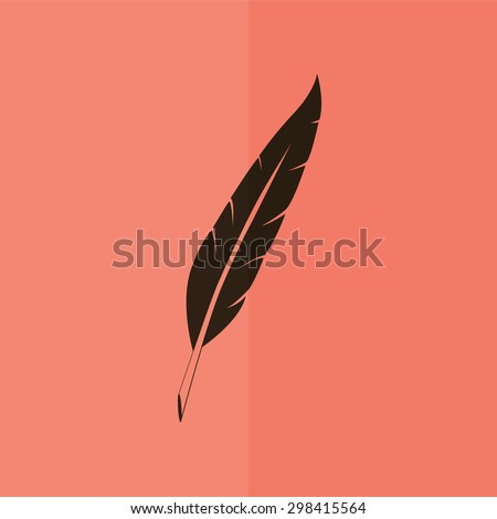 Feather vector icon. Flat design - stock vector