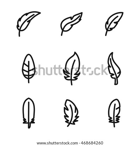 Feather vector icons. Simple illustration set of 9 Feather elements, editable icons, can be used in logo, UI and web design