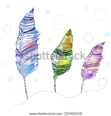 Feather vector, seamless set with hand-drawn feathers, feathers seamless color background, watercolor - stock vector