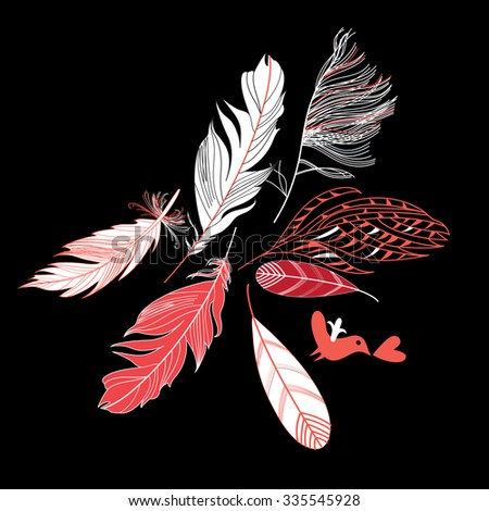 Feathers on a black background Beautiful vector illustration - stock vector