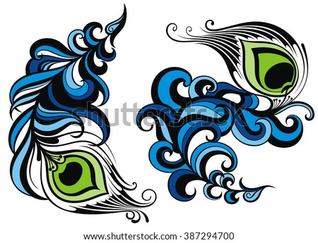 Feathers.Peacock feathers collection - stock vector