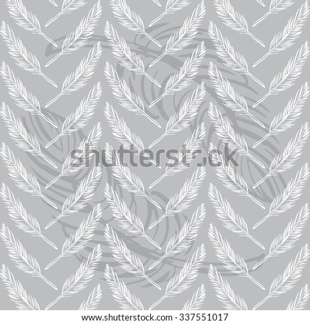 Feathers seamless background. Beautiful vector pattern.