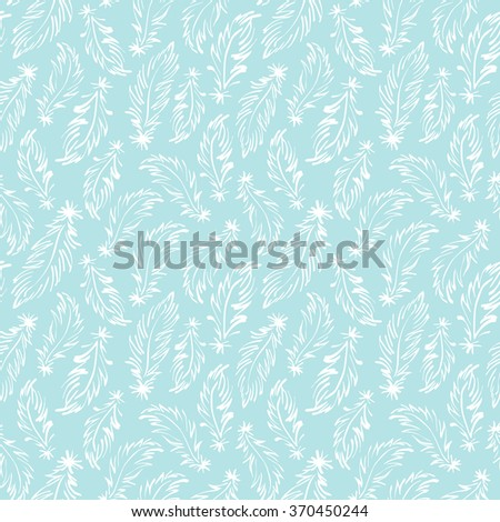 Feathers seamless vector pattern. Tiny hand drawn swan feathers endless texture. Boho style simple background. White feather drawing on blue background. - stock vector