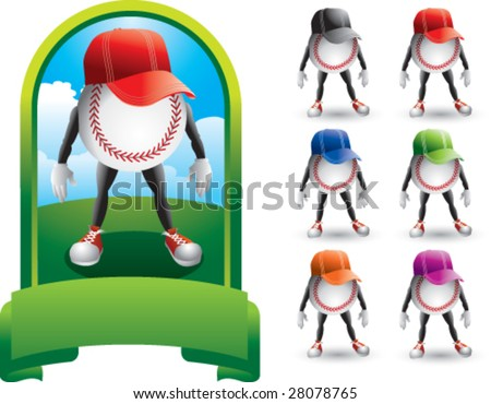 featured baseball men with multiple hats - stock vector