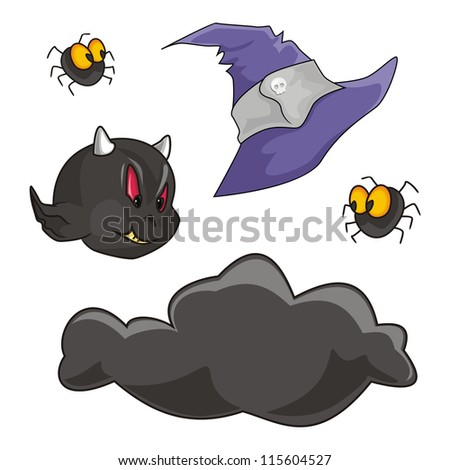 Features, cloud, spider and cap