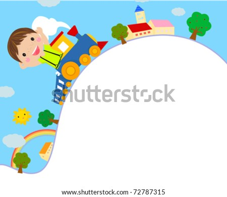 Featuring a Kid Riding on a Toy Train - stock vector